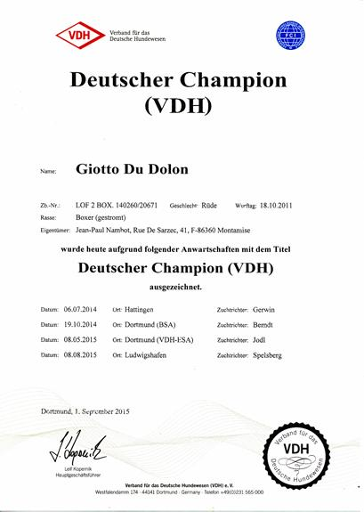 Giotto Champion d'Allemagne (VDH)